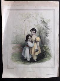 G. Bodmer after F. Hohe C1840's LG Hand Col Print. Le Bouquet. Children